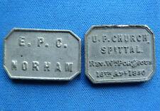 2x ORIGINAL CHURCH TOKENS 1850 U.P. CHURCH SPITTAL & E.P.C. NORHAM