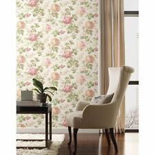York Wallcoverings Riverside Park Designer Rose Floral Green Pink Tan  Wallpaper