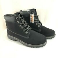 Daily Shoes Womens Combat Work Boots Faux Leather Lace Up Black Size 10