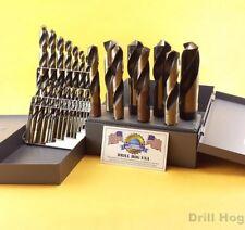 21 Pc Drill Bit Set Index + 8 Pc Silver & Deming Hi-Molybdenum M7 Drill Hog USA