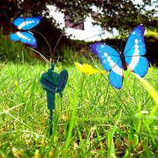 HQRP 2 Blue Flying Morpho Butterflies Solar Powered Garden Plants Flowers Decor