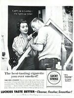 1955 Lucky Strike Cigarettes Vintage Print Ad It's Light Up Time