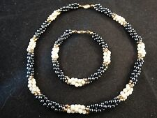 Tiffany & Co. Black & White Seed Pearl 14K Yellow Gold Necklace and Bracelet Set