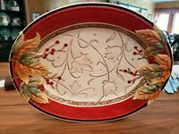 Fitz & Floyd Bountiful Holiday Fall Thanksgiving Oval Serving Platter 16x12.5