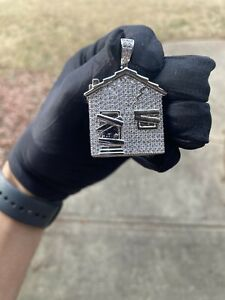 14K White Gold Plated Hip Hop CZ Atlanta Trap House Iced Out Pendant