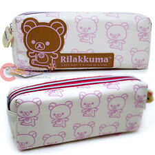 San X Rilakkuma Leather Pencil Case 2 Zip Cosmetic Pouch Bag Authentic Korilakku