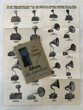 c 1915 EDISON Phonograph BLUE AMBEROL RECORDS CATALOG & Store Poster ANTIQUE