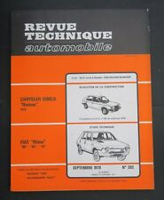 REVUE TECHNIQUE AUTOMOBILE RTA FIAT RITMO CHRYSLER SIMCA HORIZON n°392