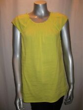 $180 THEORY Limoncello Yellow Linen Tunic w/ Smocking Detail sz L NWT