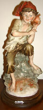 GIUSEPPE ARMANI STATUE FIGURINE BOY & SEA SHELL FIGURE MADE IN ITALY