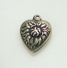 Estate Vintage Rare Repousse Sterling Silver Sunflower Flower Puffy Heart Charm