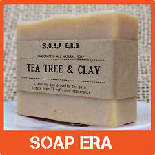 TEA TREE OIL & CLAY Nourishing Bar enriched with Sweet Almond Oil-Handmade soap