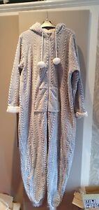 Ladies Primark grey fleece Hooded One piece size XL 18 to 20