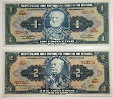 Lot of 2 Brazil 1944 UNC Banknotes 1, 2 Cruzeiros