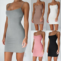 Sexy Women's Camisole Spaghetti Strap Long Tank Top Solid Slip Mini Short Dress