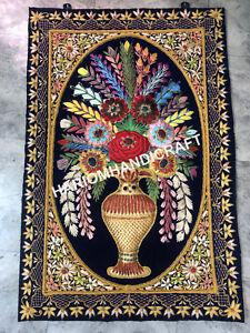 4'x3' Handmade Tapestry Floral Wall Hanging Flower Pot Zari Home Decor Gift E465