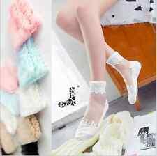 BRAND NEW Womens Transparent Beautiful Crystal Lace Elastic Ladies Short Socks