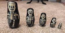 Set Of 5 Russian Nesting Dolls Skeleton Hand Painted Goth Death Skull