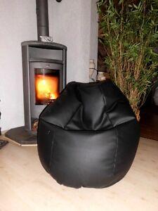 """Sitzsack"""" von Lux """" ca. 370 Liter Lederimitat schwarz / Ambiente Heine Lounge"""