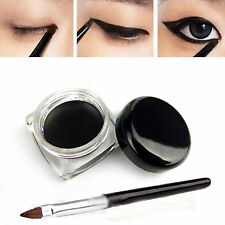 Pro Black Waterproof Eyeliner Liquid Eye Liner Shadow Gel +Makeup Brush Cosmetic