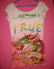 Women's S Pink ED HARDY Long T-Shirt Tunic Dress Hollywood,Dragon,Pin-Up TRUE