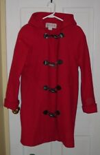 Red 100% Wool Hooded Coat, Size Small-Medium, Stephanie Matthews, Good Condition