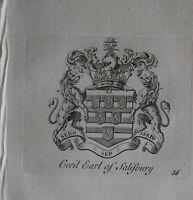 1756 Antiguo Estampado Familia Crest Abrigo De Brazos Cecil Conde Salisbury