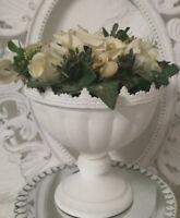 Pokal Vase Amphore Metall weiss Shabby Vintage Landhaus Garten Deko 19cm