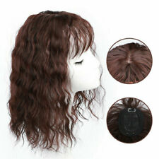 Women Curly Wavy Hair With Flat Bang Synthetic Clip Topper Hairpiece One Piece
