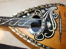 NICE OLD AND RARELY MANDOLIN 8 STRINGS WITH WOOD CARVED HEAD AND MOTHER OF PEARL