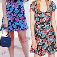 Zara Black Pink Floral Tea Dress Size XS S M L 6 8 10 12 US 2 4 6 8 Blogger ❤