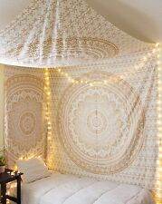Indian Gold Mandala Ombre Bedspread Tapestry Wall Hanging Hippie Boho Bedding