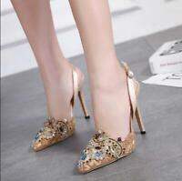Womens Rhinestones Stilettos High Heels Pointed Toe Sandals Apricot Shoes Pumps