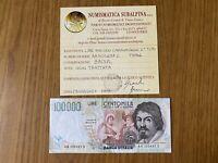BANCONOTA LIRE 100000 CARAVAGGIO II TIPO A 1994 certificata BB/SPL