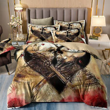 3 Piece Duvet Cover Set Queen/King Size Heart Skull Quality Cover for Comforters