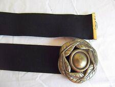 vtg blk cinch elastic stretch belt brass gold tone metal floral leaf buckle M L