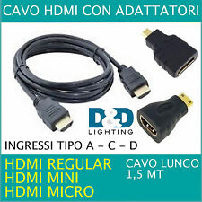 Cavo HDMI 3 IN UNO adattatori universali micro HDMI, mini hdmi FULL HD 1,5 MT