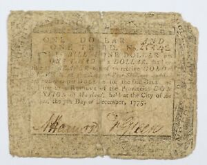 1775 Annapolis Maryland One Dollar and One Third Colonial Early US Note $1 1/3