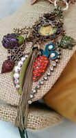 Betsey Johnson Large Pendant Necklace Rhinestones Vegetables Dangling Charms