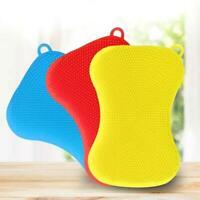 1*Kitchen Silicone Scrubber Sponge Brush Dish Pot Pan Cleaning Kit Washing F6F5