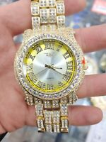Men Fully Iced Watch Bling Rapper Lab Simulate Diamond Gold Band Luxury Club Hot