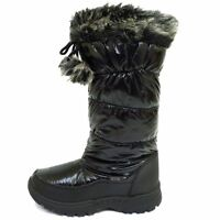 WOMENS BLACK WARM WINTER SNOW PADDED THERMAL ICE BOOTS SHOES SIZES 3-8