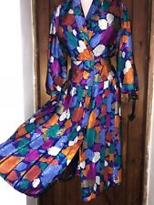 Vintage Shiny Satin Summer Pleated Dress Size 16,18 Bust 48ins
