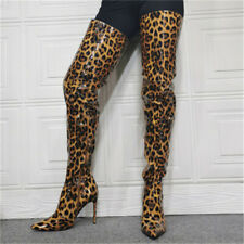 Women Patent Leather Shoes Leopard Print Pointed Toe Over Knee Thigh High Boots