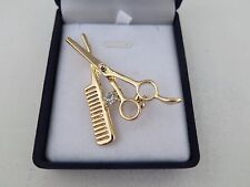 Hairdressers Gift Gorgeous Scissor Comb Crystal Diamante Brooch In Box - Gold