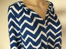 New Lucky Brand top, tank, blouse, size L, blue + white, gray, 3/4 sleeve