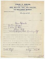 1913 CHAS EHLER Beef Mutton VEAL Poultry WALLABOUT MARKET Williamsburg BROOKLYN
