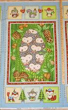"Hedge Hugs Hedgehog Owl Fox Fabric Baby Quilt Wall Hanging Panel 23"" #9838P"