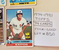 1974-81 Topps Baseball cards. LOT OF 74 (#B50). Poor - Good condition.