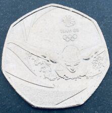 RARE Team GB Rio Olympics Swimming 50p coin 2016 Circulated